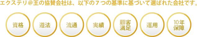 エクステリ@王の協賛会社は、以下の7つの基準に基づいて選ばれた匠です。【資格・遵法・流通・実績・顧客満足・運用・10年保障】